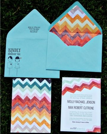 The multicolored chevron pattern on this invitation is so eye-catching
