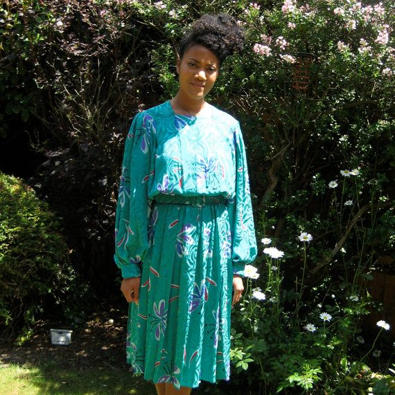 Vintage 100% Silk Day Dress by DottyTheresaVintage on Etsy
