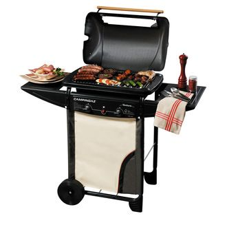 Barbecue gaz VENTURA Acier 2 feux 7 KW housse - four - pierre de lave + housse