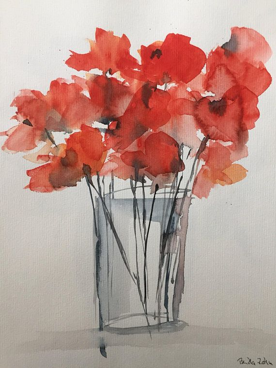 Original Aquarell Aquarellmalerei Bild Mohnblumen Abstrakt Etsy Watercolor Poppies Watercolor Paintings Abstract Poppy Painting