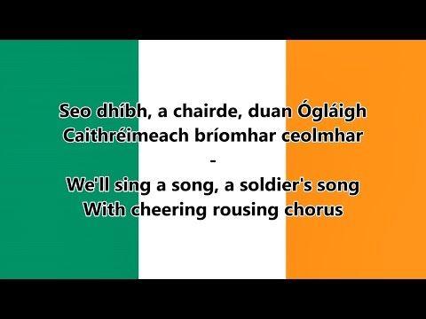 National anthem of Ireland - (IE/EN lyrics) - Irish Version - YouTube
