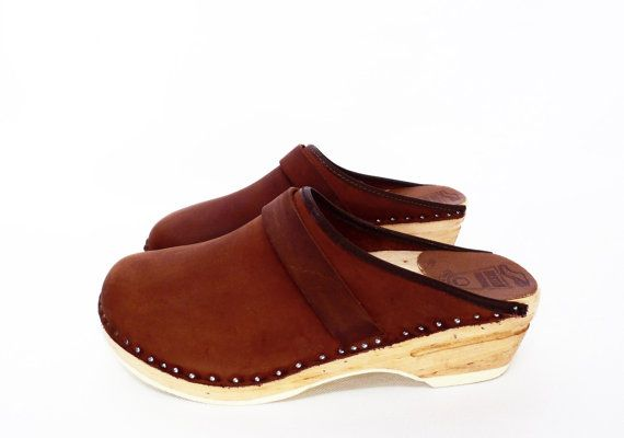 4a59078c8de vintage SWEDISH wood sole clogs    brown leather clogs    Bastad    made in  Sweden    size 38 on Etsy
