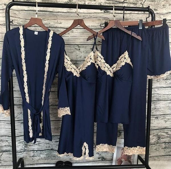 4e6ace876b 2018 Women Satin Sleepwear 5 Pieces Pyjamas Sexy Lace Pajamas Sleep Lounge  Pijama Silk Night Home Clothing Pajama Suit