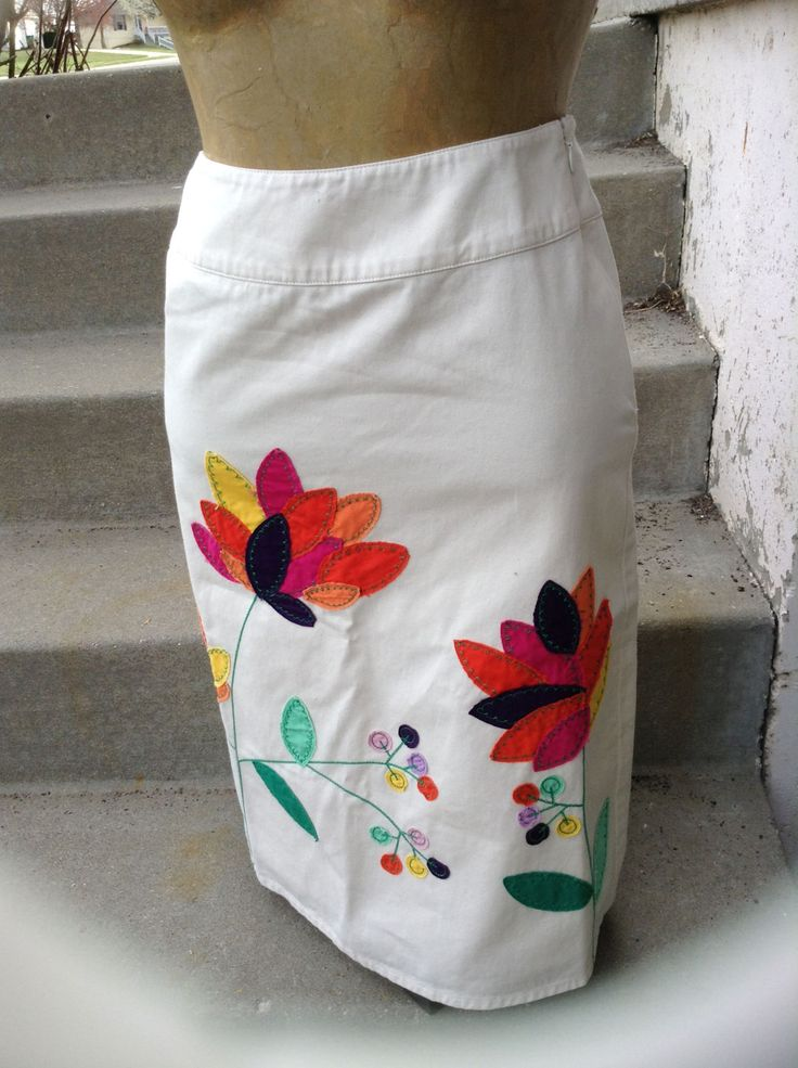 Excited to share the latest addition to my #etsy shop: Vintage hipster kitsch 70s ladies khaki skirt with embroidered flowers size 10 free domestic shipping