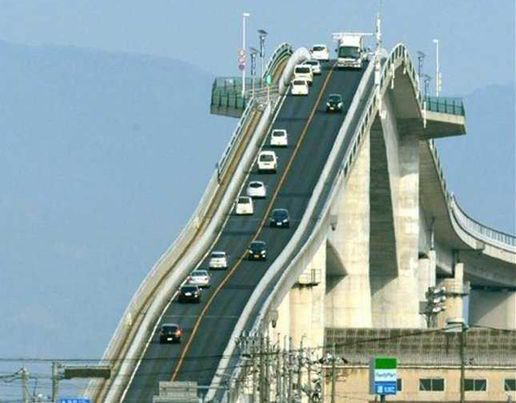 The Eshima Ohashi Bridge In Japan is a two-lane concrete road bridge that links the city of Matsue in Shimane Prefecture to Sakaiminato in Tottori Prefecture [Ohashi Bridge/Exclusivepix Media]