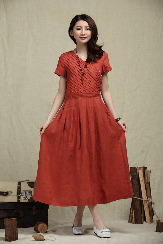 Cocktail Wedding Sundress in Red / Long Linen Dress in Red / Maxi Bridesmaid Dress on Etsy, $99.00
