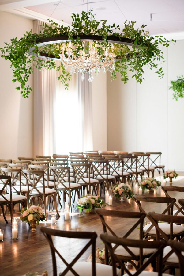 Urban garden-inspired wedding ceremony: http://www.stylemepretty.com/illinois-weddings/chicago/2016/11/16/greenery-chandeliers-urban-garden-wedding/ Photography: Averyhouse - http://galleries.averyhouse.net/