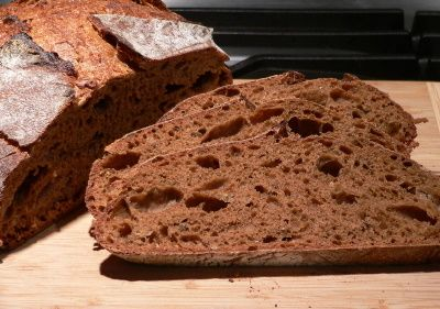 Rye from sour dough starter, very good, mine was very wet i added 2 extra cups of  flour and still very wet.  I baked in a bread pan because it wouldn't hold a shape
