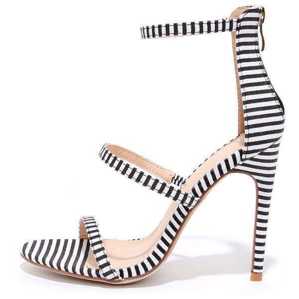 Three Love Striped Black and White Dress Sandals ($32) ❤ liked on Polyvore featuring shoes, sandals, heels, black, gold heel sandals, strappy sandals, dress sandals, high heel shoes and black strap sandals