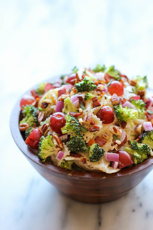Broccoli Salad - a healthy, hearty broccoli salad made with grapes, pecans and a Greek yogurt dressing.