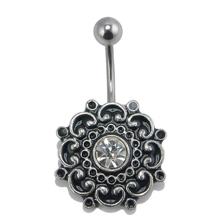 Vintage Folwer Piercing Navel Jewelry Retro Piercing Nombril Crystal  Belly Button Rings Sexy Women Body Jewelry Black NA967