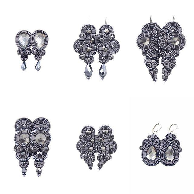 Earrings dark grey soutache by Kavrila #soutache #sutasz #rękodzieło #oryginalne #ekskluzywne #kobiecie #szarość #szare #kolczyki #jesienne #kavrila #handmade #earrings #autumn #darkgrey #orginal #exlusive #fashion #women