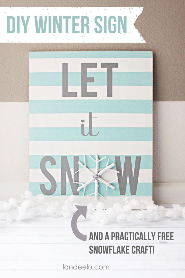 DIY Winter Sign and Snowflake Craft  | landeelu.com  The snowflake is practically free... so cute!