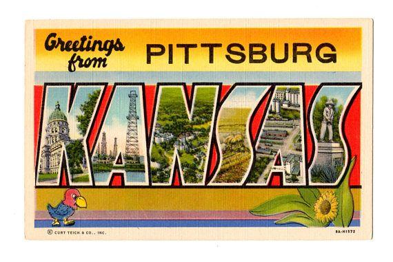 Greetings From Pittsburg Kansas Vintage Postcard Life Insurance