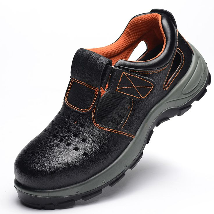 large size 45 46 men's breathable dress shoe steel toe cap work safety summer shoes soft leather closed sandals platform zapatos