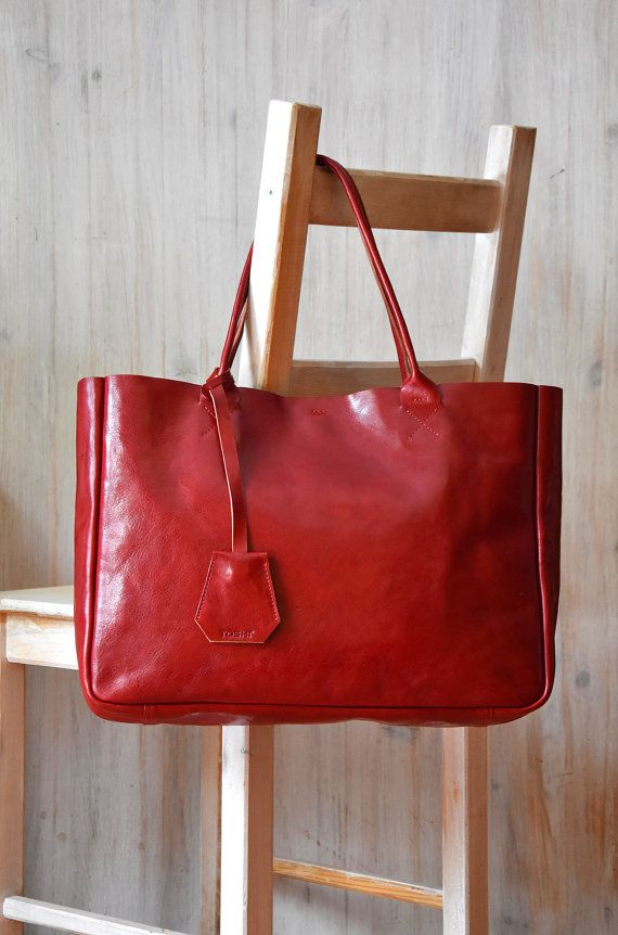 Red Leather Tote Bag  BELLA Ferrari Red  Medium Size by toshibags