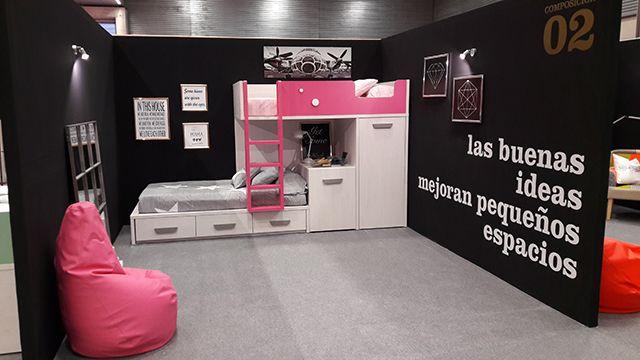 Litera con armario y escritorio extraíbles del nuevo catálogo juvenil de muebles Ros. Feria del hábitat de Vizcaya.
