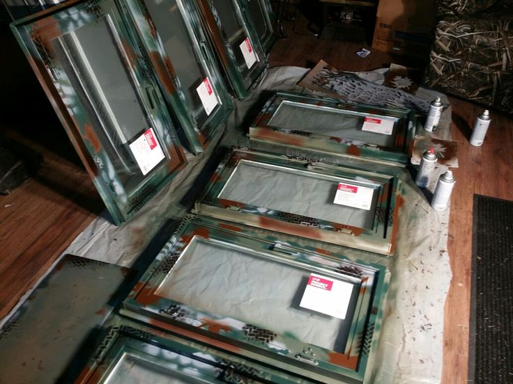 18x36 casement windows spray painted in camo.