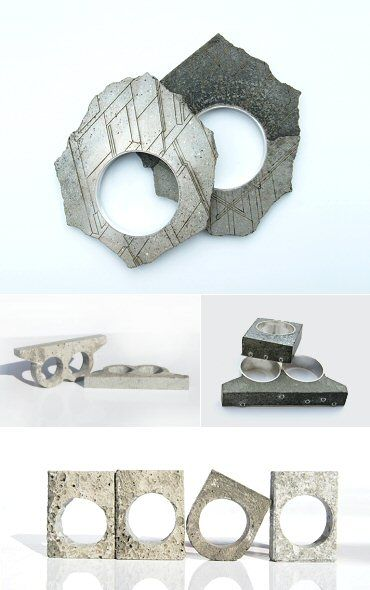 This ring blog has some wacky, imaginative & fun stuff. I love these concrete rings.  The Carrotbox modern jewellery blog and shop — obsessed with rings
