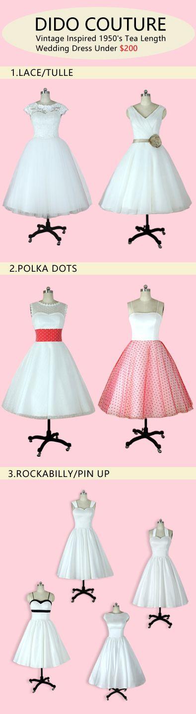 8 Amazing 1950s Vintage inspired Tea Length &Short Wedding Dresses under $200!