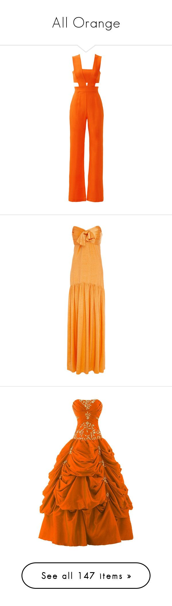 """""""All Orange"""" by anniebenny ❤ liked on Polyvore featuring jumpsuits, pants, playsuits, dresses, orange, cutout romper, romper jumpsuit, playsuit jumpsuit, orange jumpsuit and cut out jumpsuit"""