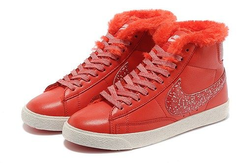 Cheap 375573 611 Nike Blazer MID leather fur red women running shoes