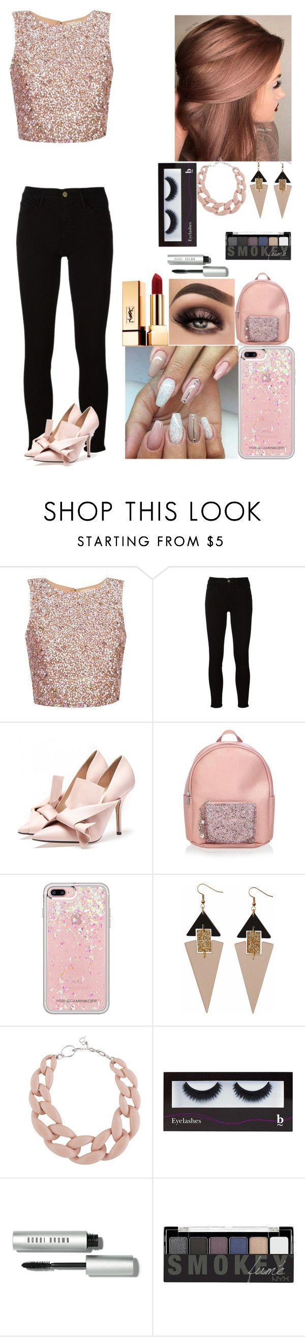 """Saturday Night"" by rider4life12 ❤ liked on Polyvore featuring Frame, Monsoon, Rebecca Minkoff, Toolally, DIANA BROUSSARD, BBrowBar, Bobbi Brown Cosmetics, NYX and Yves Saint Laurent"