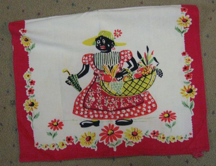 Authentic Vintage Black Folk Art Kitchen Linen Towel 1930u0027s 1940u0027S | EBay