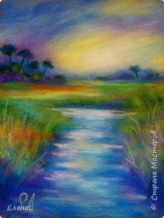 Картина панно рисунок Мастер-класс Валяние фильцевание Рисование и живопись Фотоурок Шерстяной пейзаж Шерсть фото 1