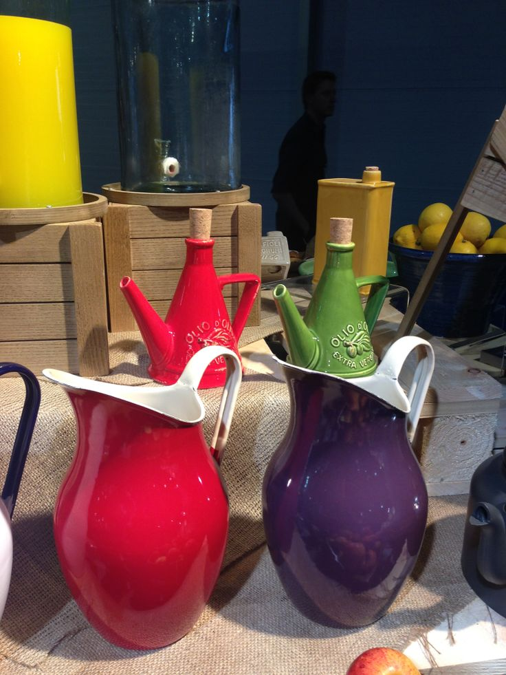 Some colourful Enamel Jugs on the buffet display table at the recent IFEX show