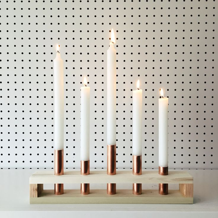 Wood and Copper Candle Holder | Wedding, Danish, Mid Century, Modern, Scandinavian