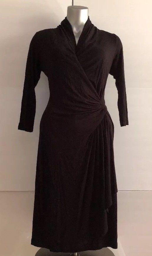 New Karen Kane Cascade Wrap Dress Size S Black V Neck 34 Sleeves