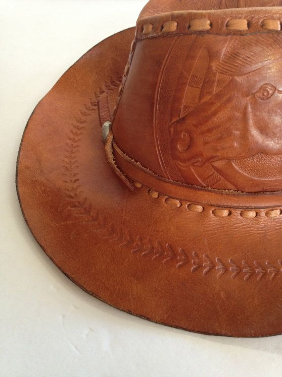 067ecfd9 Vintage Hand Tooled Leather Cowboy Hat | Leather Cowboy Hats ...