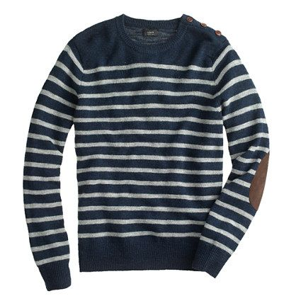 Jcrew Rustic Merino Elbow Patch Sweater In Stripe Mens Wear