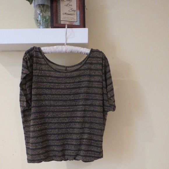 Slouchy Top Attached tank top underneath (gray). Gold shimmer with gray stripes. In great condition! Offers welcome! Mudd Tops