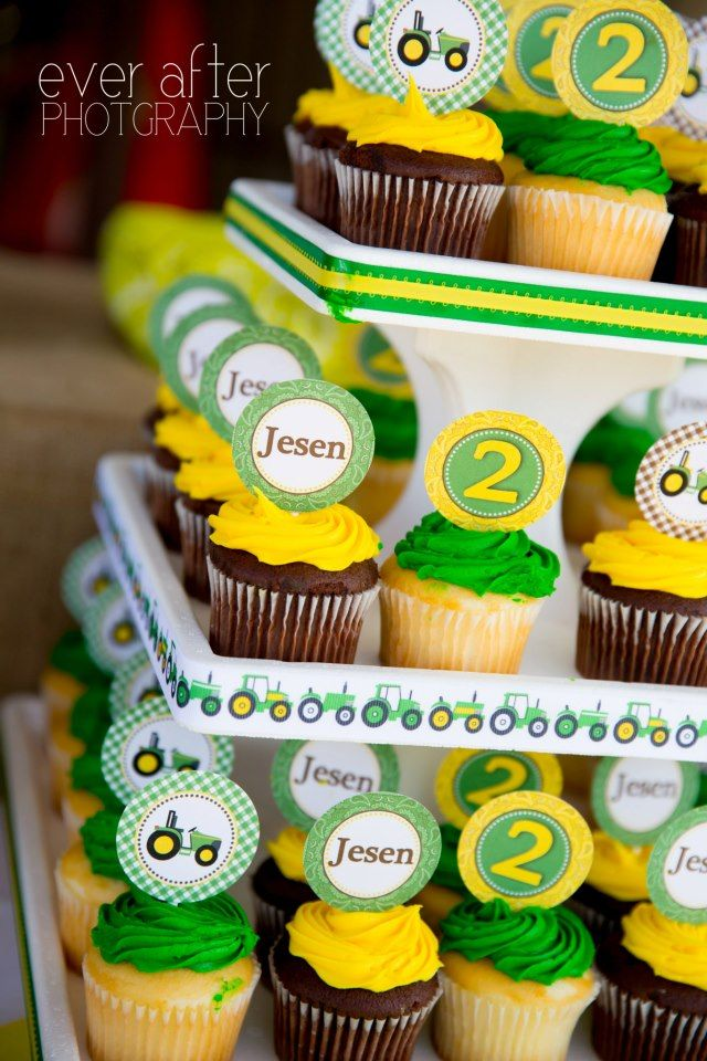 john deere birthday party cupcakes toppers