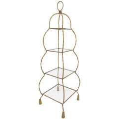Hollywood Regency Style Italian Gilt Metal Rope  Tassel Etagere Display Shelf