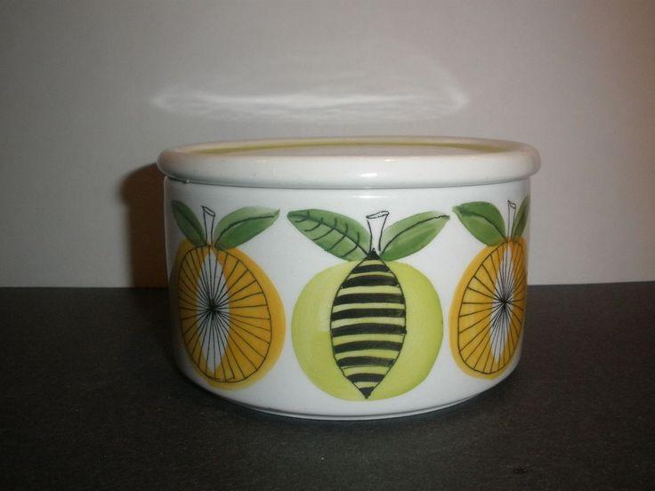 Mid Century Arabia Finland Jam Pot with Lid Orange & Lemon 1967