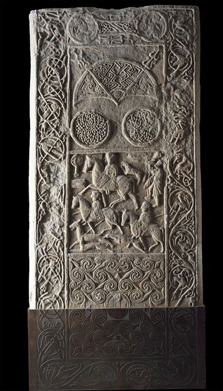 Celtic:  This is the Hiton of Cadboll stone, carved around 800 CE, in the #Pictish heartland of Northern #Scotland. The hunting scene in the middle is intricately carved and seems to show a woman leading an aristocratic hunt.