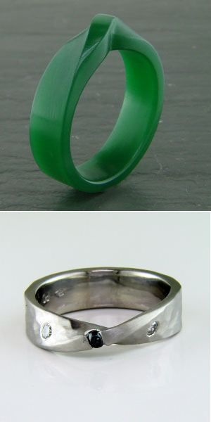 Wax to finished piece: Black diamond in a rustic Möbius style ring...