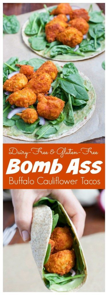 """Spicy buffalo cauliflower tacos are one of our favorite easy healthy dinners, my hubby-to-be likes to describe them as """"bomb-ass!"""" It can easily be made vegan by using hot sauce instead of buffalo sauce and it's naturally vegetarian, gluten-free, and dairy-free."""