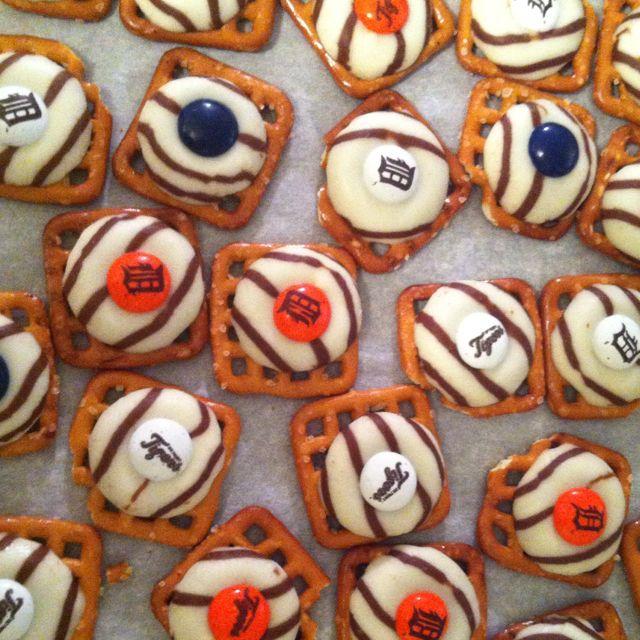 Detroit Tigers pretzel buttons for Randy's surprise cookout :)