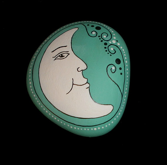 Hand Painted Moon Face Rock