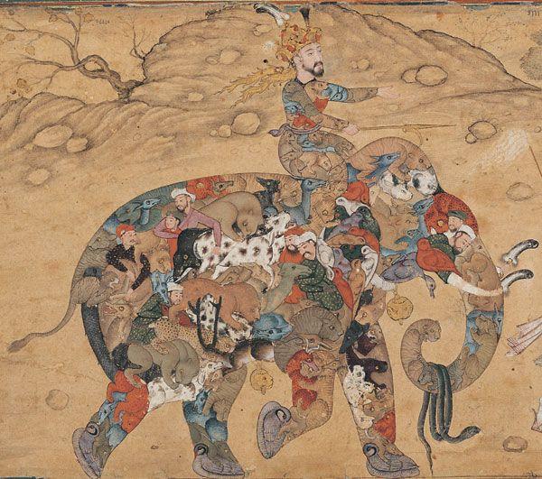 Composite Elephant. Persian Miniature c 1600.