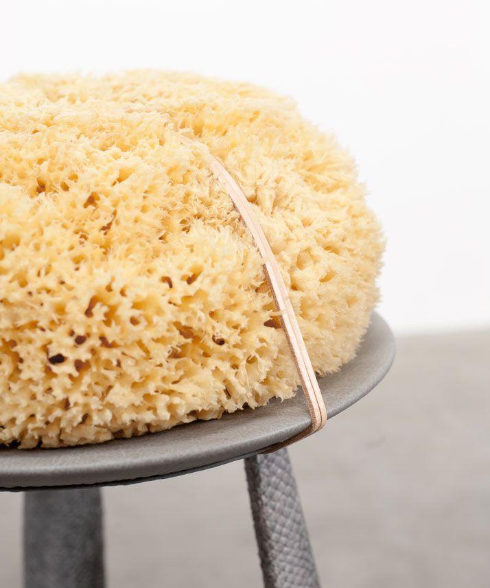 Salmon stool (detail): Fendi discarded leather, vegetal tanned salmon skin, wood, sea sponge