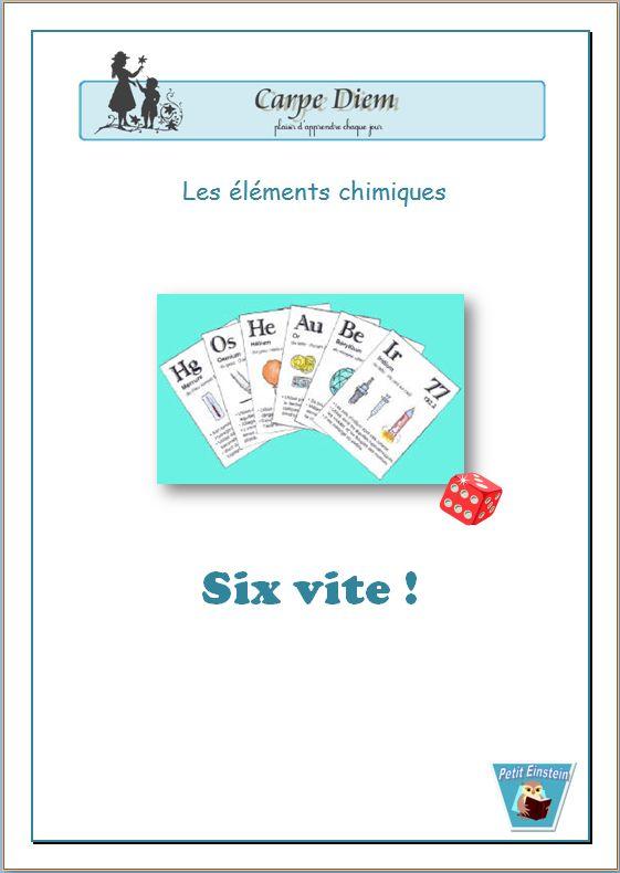 Un jeu de 108 cartes à fabriquer.  But du jeu : se familiariser avec les éléments chimiques (noms, symboles, utilisations) www.carpediem.asso.fr