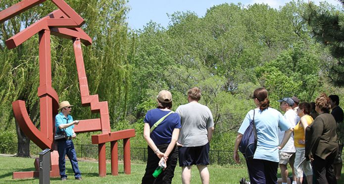 Every month, May through October, weather permitting, trained volunteer docents lead informal and informative walking tours of the Sculpture Park. The docents discuss each piece along the paths, describing the concepts, materials and the artists. Tours begin promptly at 1:00 PM and are approximately one hour in length. Tours cover one section of the Sculpture Park each month.