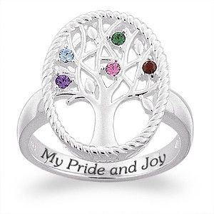 Sterling Silver Family Tree with Birthstones - A unique ring, perfect for Mother's Day or a birthday gift for Mom or Grandma.