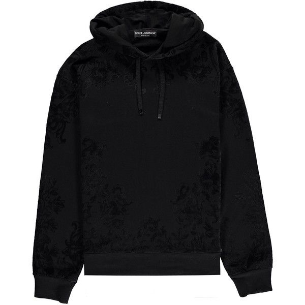 Dolce and Gabbana Flocked Hoodie ($285) ❤ liked on Polyvore featuring tops, hoodies, jackets, shirts, jumpers, black, all over print hoodie, all-over print shirts, dolce gabbana shirt and shirt top