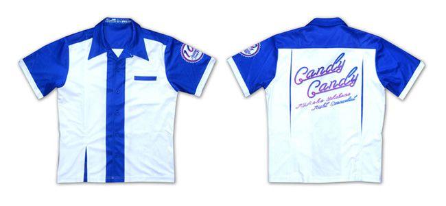 ボーリングシャツ、Candy,Blue